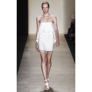 BCBGMaxAzria Dresses & Skirts - BcbgMaxAzria Crepe White Strapless Runway Dress