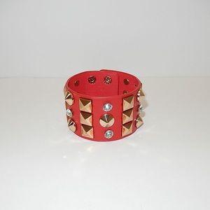 Studded Leather Wrap Bracelet w/ Clear Rhinestones