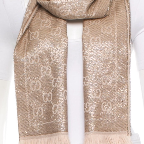 09f270b754bca Gucci Accessories - Gucci Shimmery Gold GG pattern scarf