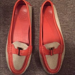 Tory Burch canvas and orange loafers size 7.5