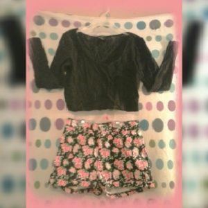 Divided H&M Black Floral High Waist Shorts 6