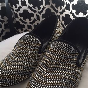Shoes - Beaded Silver Loafers
