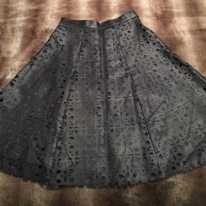 JOA Black Faux Leather Cut Out Skirt