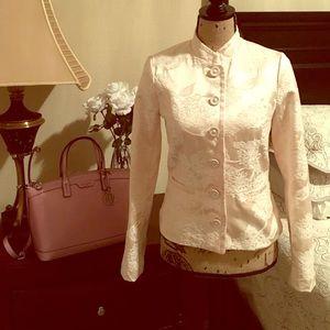 Jackets & Blazers - Structured Blazer with Raised Brocade Design