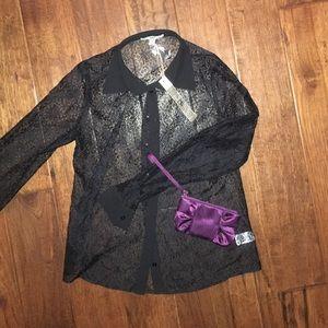 Shear black blouse w/ free new plum color wristlet