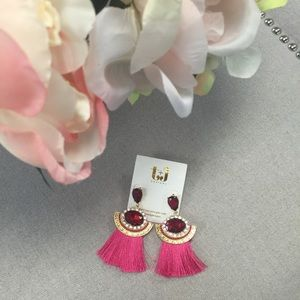 T&J Designs Jewelry - Glamorous Red & Pink Drop Tassel Earrings