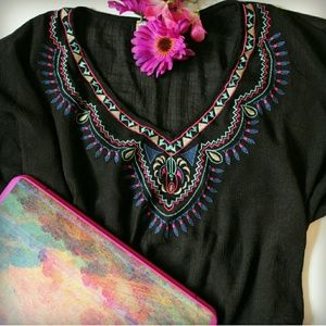 FLYING TOMATO embroidered black poncho top