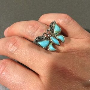 Jewelry - Sterling Silver Turquoise Marcasite Ring