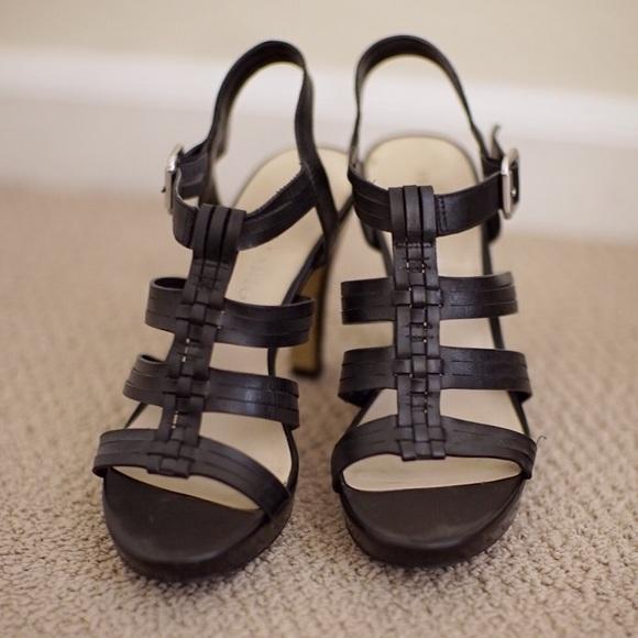 Franco Sarto Black Strappy Heels
