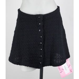Betsey Johnson Black Button Up Knit Mini Skirt