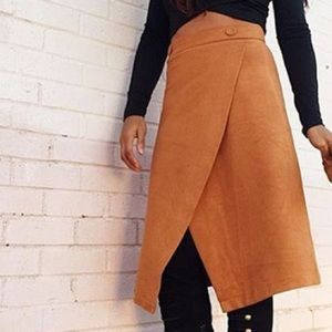 Chicwish Dresses & Skirts - Camel Suede Flap Midi Skirt