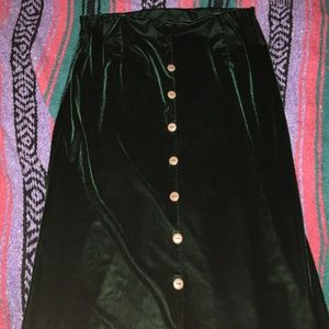 High waisted green velvet skirt
