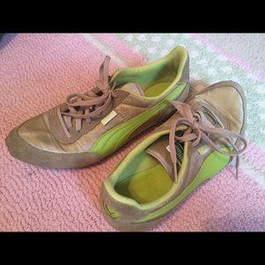 Puma green & Gold Sneakers