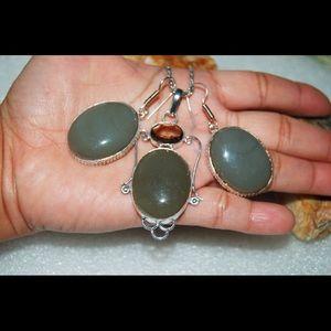 handmade & handcrafted gemstone jewelry Jewelry - Camouflage Chalcedony Pendant & Earrings Set
