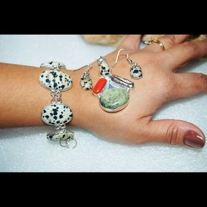 Dalmation & Jasper Statement Set 925Silver