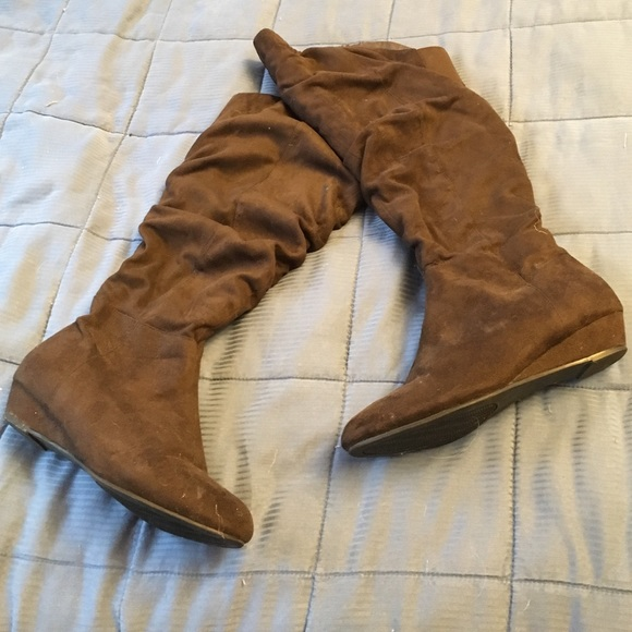 62d247200b5 Woman Within Shoes - Brown wide-width slouch boots