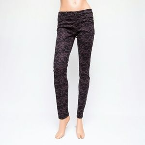 AG 28x30 Sateen Legging Lace Purple Skinny Jeans