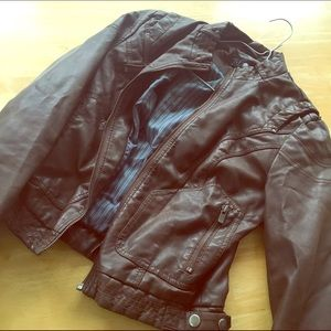 Zara brown faux leather jacket sz small