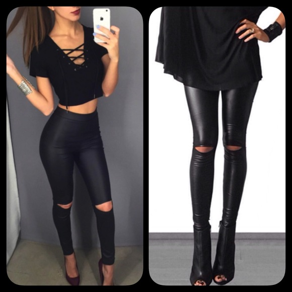❗️LAST❗ Faux Matte Leather Leggings Cut Out Knee M from ...