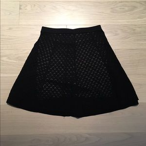 Catherine Malandrino Knit Black Pointelle Skirt