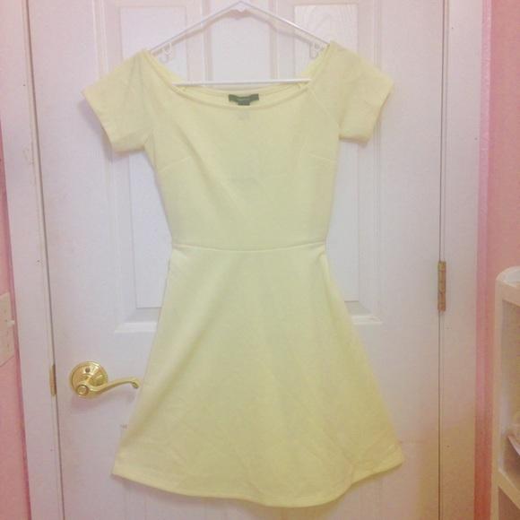 7818846fb9 NEW lemon pastel yellow mini skater dress