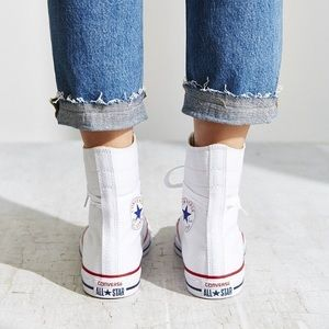 c67da72d6cffe8 Converse Shoes - Extra high top white converse 9 NEW