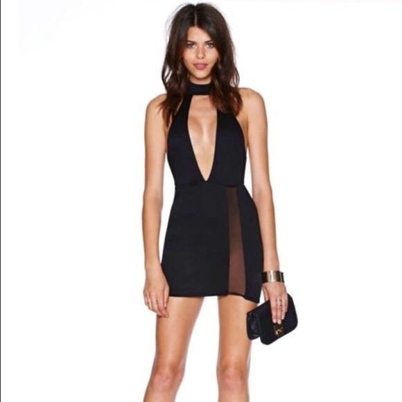 7919b9ebc115 Nasty Gal Little Black Dress Plunging Neckline