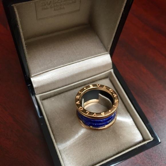 bulgari jewelry sold bvlgari 18k rose gold blue marble ring
