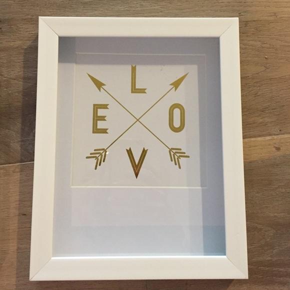 Other | Love White Gold Framed Wall Art | Poshmark