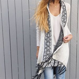 | new | white long fringe cardigan