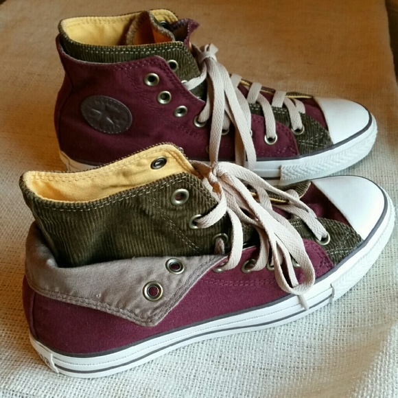 640313ba7fdc64 Converse Shoes - NWOT Custom Corduroy Two Layer Converse High Tops