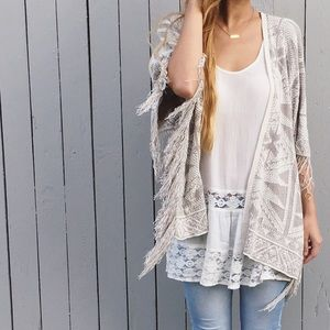 | new | boxy fringe cardigan