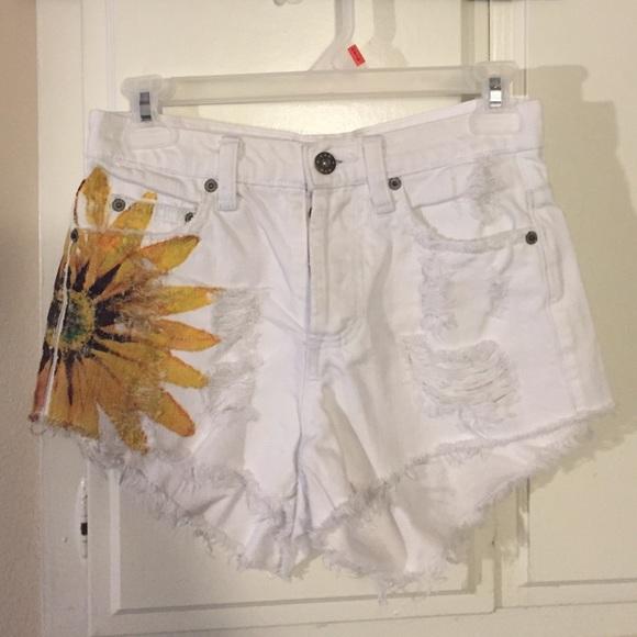 81838e0e41 LF Shorts | Sold White Carmar High Waisted W Sunflower | Poshmark