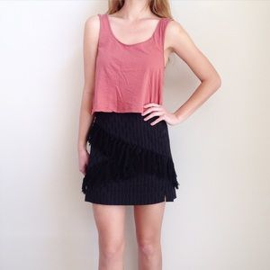 WAYF Dresses & Skirts - black fringe skirt