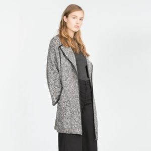 Zara Knit Coat With Vegan Leather Piping