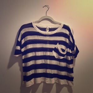 Cecico Tops - Navy and white striped knit mesh top