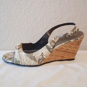 Etienne Aigner Shoes - Etienne Aigner safari print wicker wedge sandals!