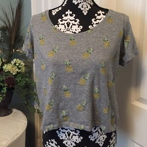 New listing-Cute gray w/ pineapple crop top.