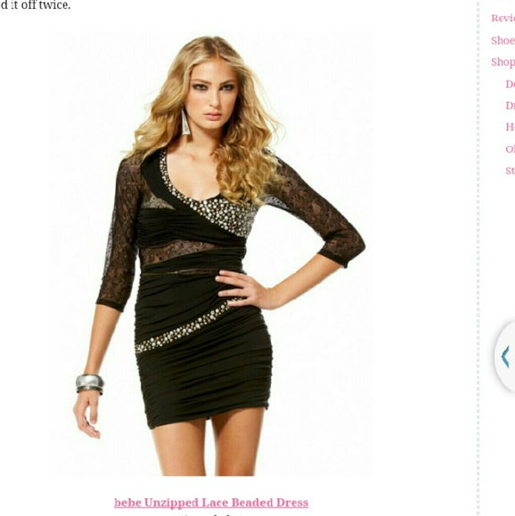 Bebe black unzipped lace beaded dress