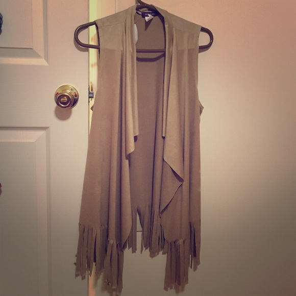55% off Tops - New light brown fringe suede sleeveless cardigan ...