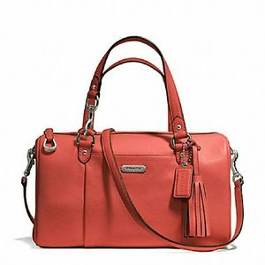Authentic Coach Avery Pebble Coral Leather Satchel