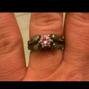 10K Black Gold Pink Sapphire Skull Ring