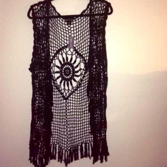 38% off Wet Seal Tops - Wet Seal Plus Crochet knitted Vest Kimono from Alejan...