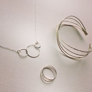 Sterling Silver Circle Trio Necklace