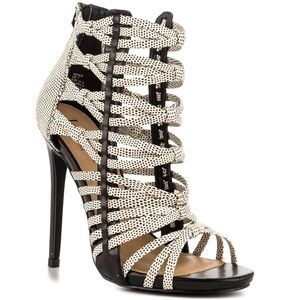 Shoes - NEW! Black/Wht Caged Booties/Heels/Sandals
