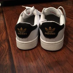 4803256bfb0 closeout adidas shoes adidas superstars gold logo size 7on hold 9f37a b5c5c