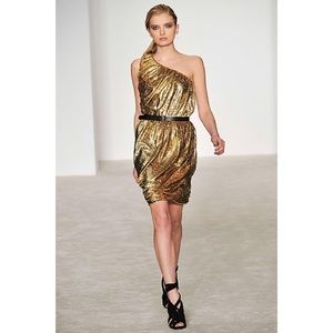 • Derek Lam gold one shoulder dress size 6 •
