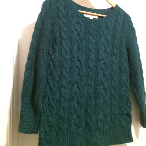 2bd4aa58d29de9 LOFT Sweaters | Dark Green Cable Knit Sweater Size Medium | Poshmark