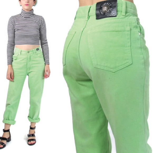 Lime green high waisted jeans