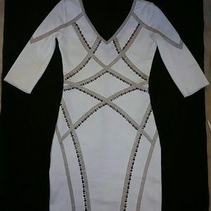 Bandage studded cream dress